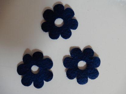 Bild von Filzblumen dunkelblau 82 Stück