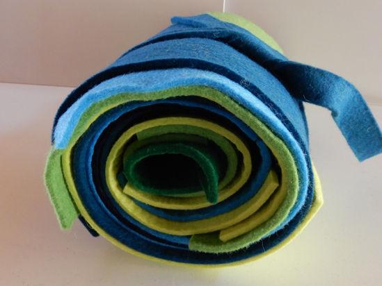 Bild von Filzresten blau grün